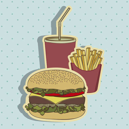 chips and salsa: Illustration of hamburger. Combo of fast food in vintage style, vector illustration