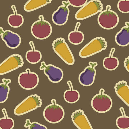 rich in vitamins: Illustration of fruits and vegetables, vintage style, vector illustration