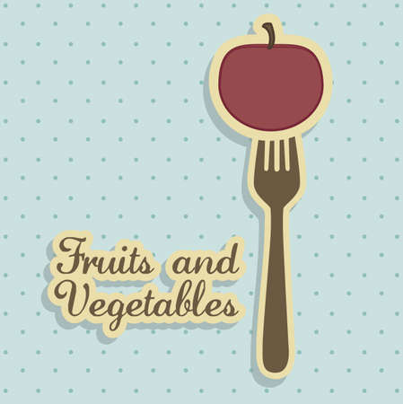 rich in vitamins: Illustration of apple,  fruits in vintage style, vector illustration Illustration