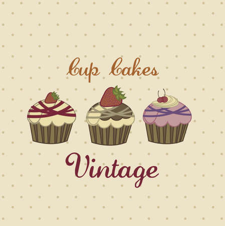 Illustration of cup cakes and desserts, in vintage style, vector illustration Stock Vector - 18212185