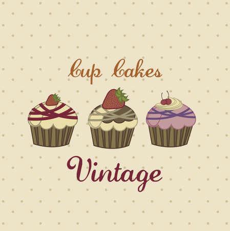 cup cakes: Ilustraci�n de la taza tortas y postres, de estilo vintage, ilustraci�n vectorial