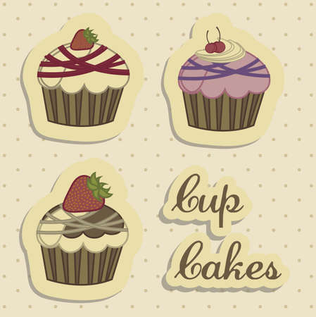 Illustration of cup cakes and desserts, in vintage style, vector illustration Vector