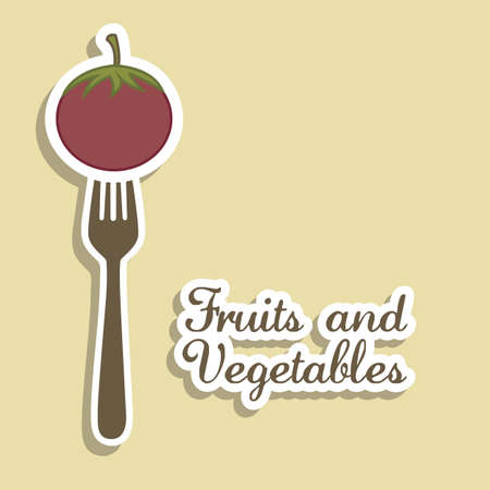 intact: Illustration of tomato. fruits in vintage style, vector illustration