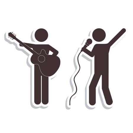 Illustration of Disco and Dance Icons, vector illustration Vector