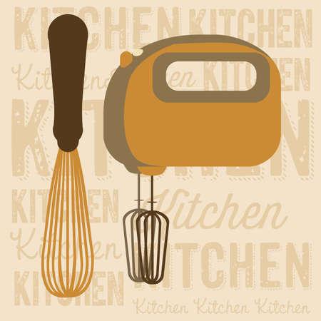 electricals: Illustration of kitchen appliances. illustration of  a hand mixer and an electric mixer. vector illustration