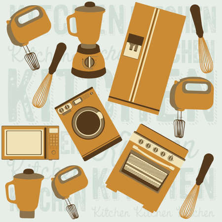 electricals: Illustration of kitchen appliances. illustration of a microwave, a large fridge, a hand mixer and an electric mixer, a blender, a washing machine and a stove. vector illustration Illustration