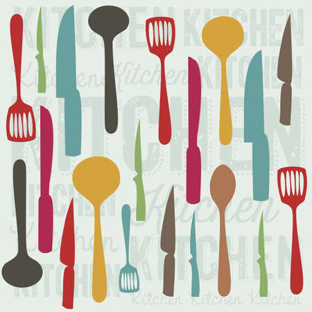 electricals: Illustration of kitchen elements. illustration of spoons, knives, forks, and covered. vector illustration