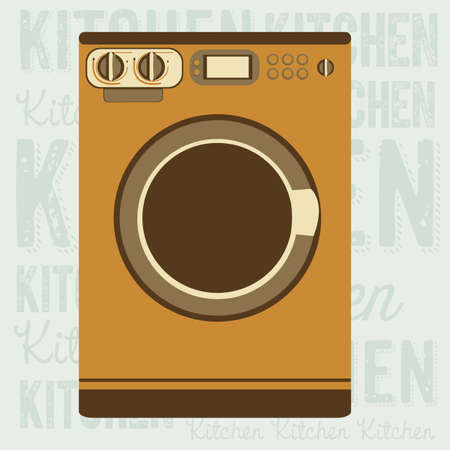electricals: Illustration of kitchen appliances. illustration of a washing machine. vector illustration