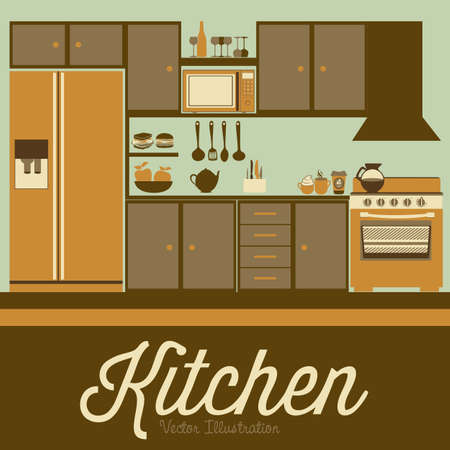 Illustration kitchen with appliances, food and drawers. vector illustration