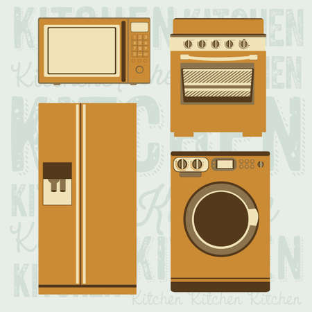 electricals: Illustration of kitchen appliances. illustration of a microwave, a large fridge,  a washing machine and a stove. vector illustration