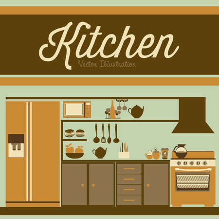 lifestyle dining: Illustration kitchen with appliances, food and drawers. vector illustration