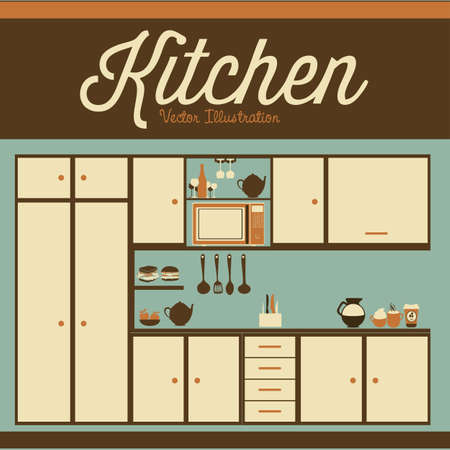 kitchen illustration: Illustration kitchen with appliances, food and drawers. vector illustration