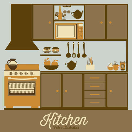 kitchen appliances: Illustration kitchen with appliances, food and drawers. vector illustration