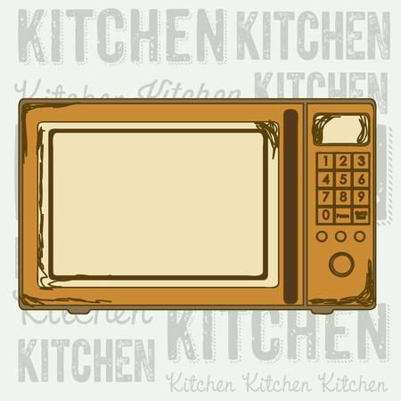 electricals: Illustration of kitchen appliances. illustration of a microwave. vector  Illustration