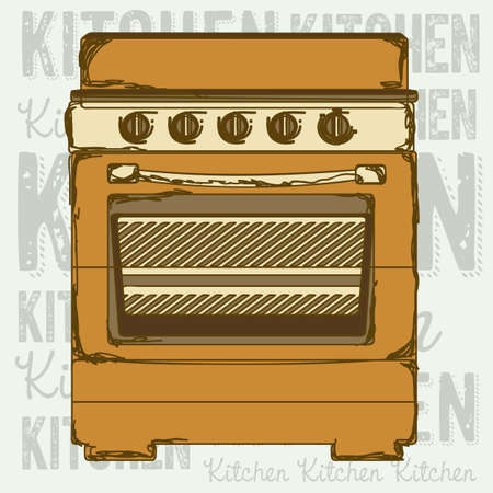 Illustration of kitchen appliances. illustration of stove with oven. vector  Vector
