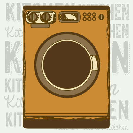 electricals: Illustration of kitchen appliances. illustration of a washing machine. vector