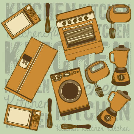 electricals: Illustration of kitchen appliances. illustration of a microwave, a large fridge, a hand mixer and an electric mixer, a blender, a washing machine and a stove. vector