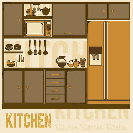 Illustration kitchen with appliances, food and drawers. vector illustration Vector