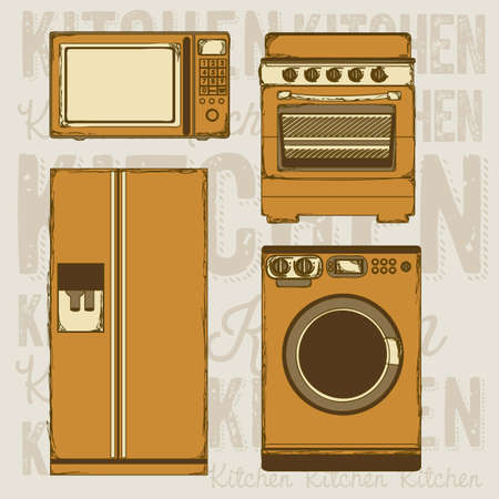 electricals: Illustration of kitchen appliances. illustration of a microwave, a large fridge,  a washing machine and a stove. vector