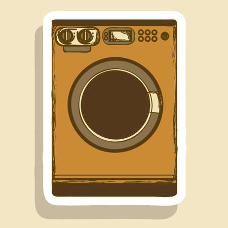 Illustration of kitchen appliances. illustration of a washing machine. vector illustration Vector