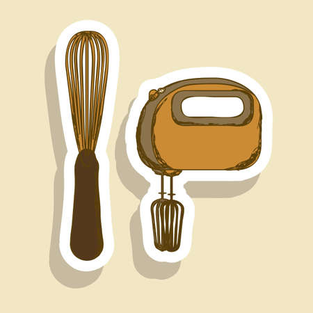 Illustration of kitchen appliances. illustration of a hand mixer and an electric mixer. vector illustration Stock Vector - 18334700