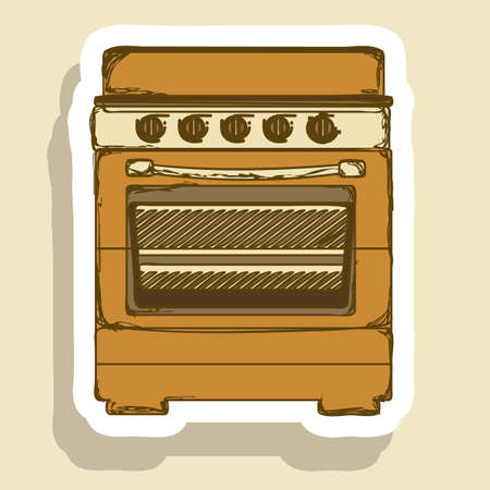 Illustration of kitchen appliances. illustration of  a stove with oven. vector illustration Vector