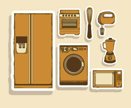 Illustration of kitchen appliances. illustration of a microwave, a large fridge, a hand mixer and an electric mixer, a blender, a washing machine and a stove. vector illustration Vector