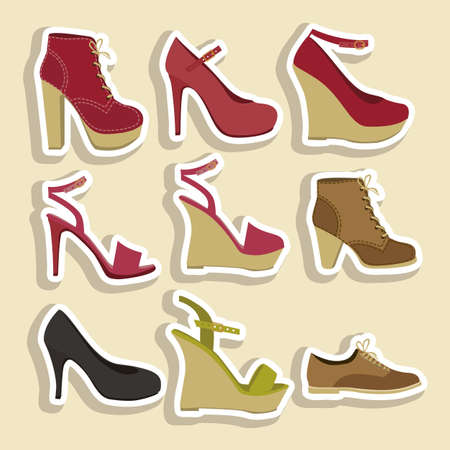 Illustration of fashion icons, fashion shoes, vector illustration Vector
