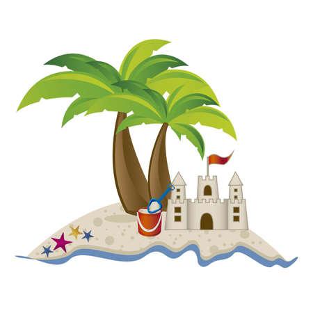 Illustration de la plage. Arena, les vacances d'été sur la plage, illustration vectorielle Vecteurs