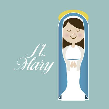 eucharistie: Illustration religieux de la Vierge Marie, m�re de J�sus-Christ, illustration vectorielle