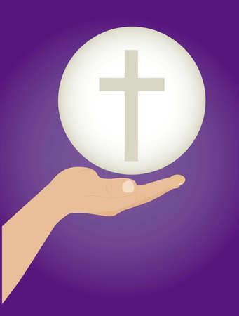 catholic mass: Illustration of Jesus Christ, Eucharist and the sacrament of communion, vector illustration