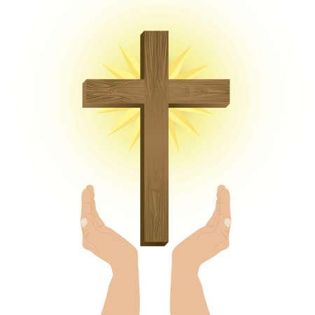 religion catolica: Ilustracion religiosa, cruz de nuestro Se�or Jesucristo, ilustraci�n vectorial