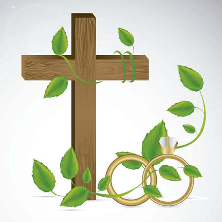 wooden cross: Religious Illustration of Wedding and engagement rings, vector illustration