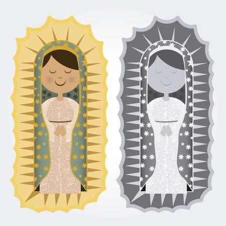 virgen maria: Ilustracion religiosa de la Virgen María, madre de Jesucristo, ilustración vectorial