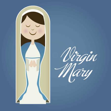 vierge marie: Illustration religieux de la Vierge Marie, mère de Jésus-Christ, illustration vectorielle