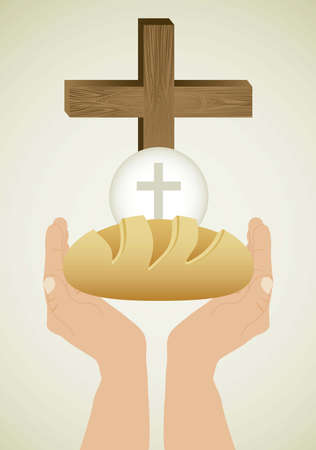 Illustration de J�sus-Christ, l'Eucharistie et le sacrement de la communion, illustration vectorielle