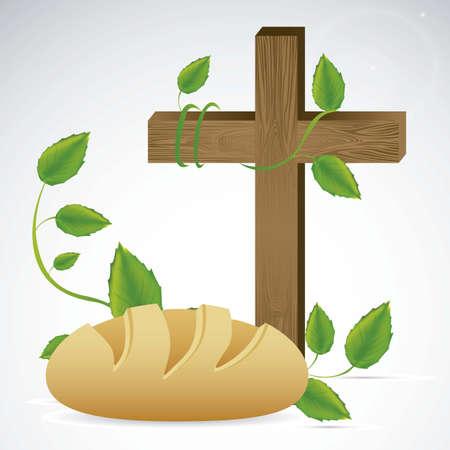 pan y vino: Ilustraci�n de Jes�s Cristo, la Eucarist�a y el sacramento de la comuni�n, ilustraci�n vectorial Vectores