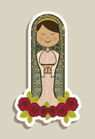 Religious Illustration from the Virgin Mary, mother of Jesus Christ, vector illustration Vector