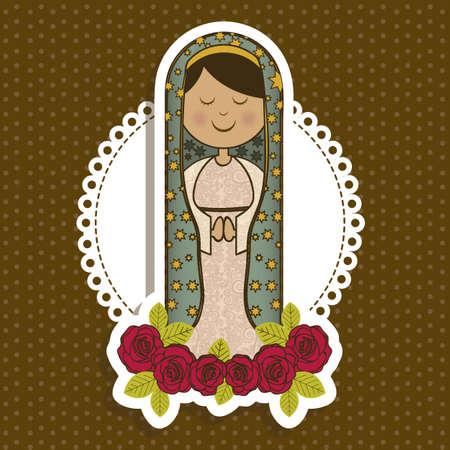 milagros: Ilustracion religiosa de la Virgen Mar�a, madre de Jesucristo, ilustraci�n vectorial