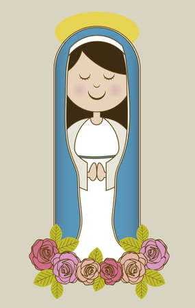 saint mary: Religious Illustration from the Virgin Mary, mother of Jesus Christ, vector illustration