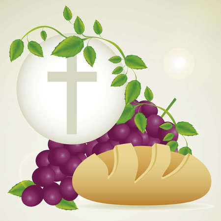 Illustration of Jesus Christ, Eucharist and the sacrament of communion, vector illustration