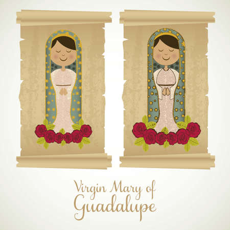immaculate: Religious Illustration from the Virgin Mary, mother of Jesus Christ, vector illustration