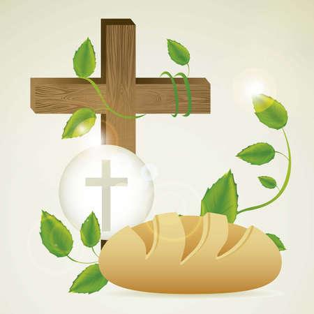 comunion: Ilustraci�n de Jes�s Cristo, la Eucarist�a y el sacramento de la comuni�n, ilustraci�n vectorial Vectores