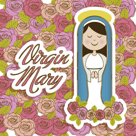 mary: Religious Illustration from the Virgin Mary, mother of Jesus Christ, vector illustration