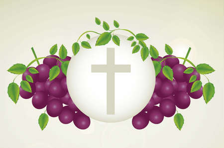 Illustration of Jesus Christ, Eucharist and the sacrament of communion, vector illustration Vector
