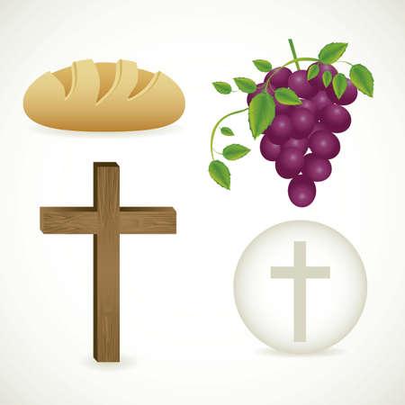 comunion: Ilustración de Jesús Cristo, la Eucaristía y el sacramento de la comunión, ilustración vectorial Vectores