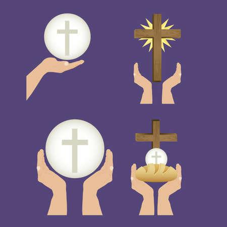 pane e vino: Illustrazione di Ges? Cristo, l'Eucaristia e il sacramento della comunione, illustrazione vettoriale Vettoriali