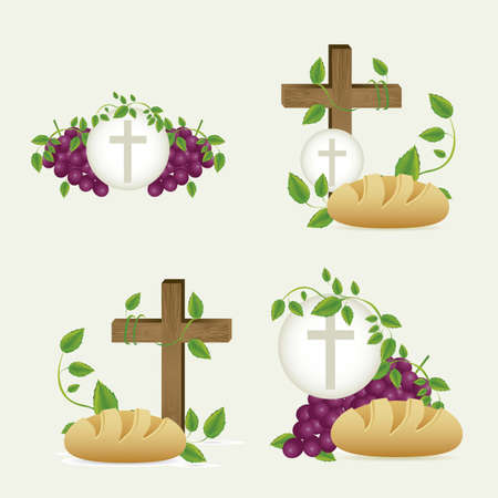 sacrament: Illustration of Jesus Christ, Eucharist and the sacrament of communion, vector illustration