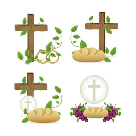 the last: Illustration of Jesus Christ, Eucharist and the sacrament of communion, vector illustration