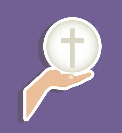 blessed: Illustration of Jesus Christ, Eucharist and the sacrament of communion, vector illustration